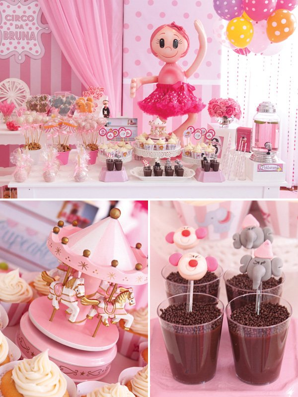 pink ballet party dessert table