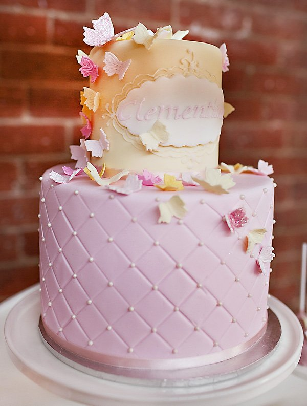 pink and yellow butterfly birthday cake