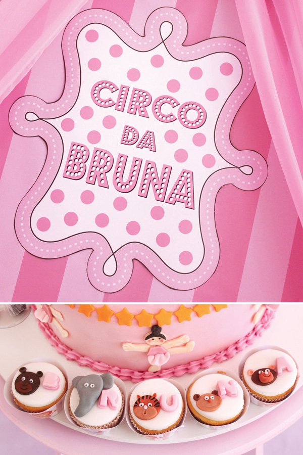 pink circus first birthday party sign