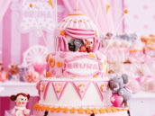 pink circus birthday party cake