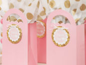 pink and gold party favor bags