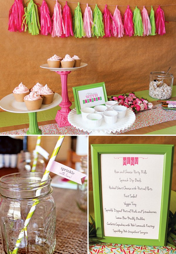 pink and green baby shower sprinkle dessert table