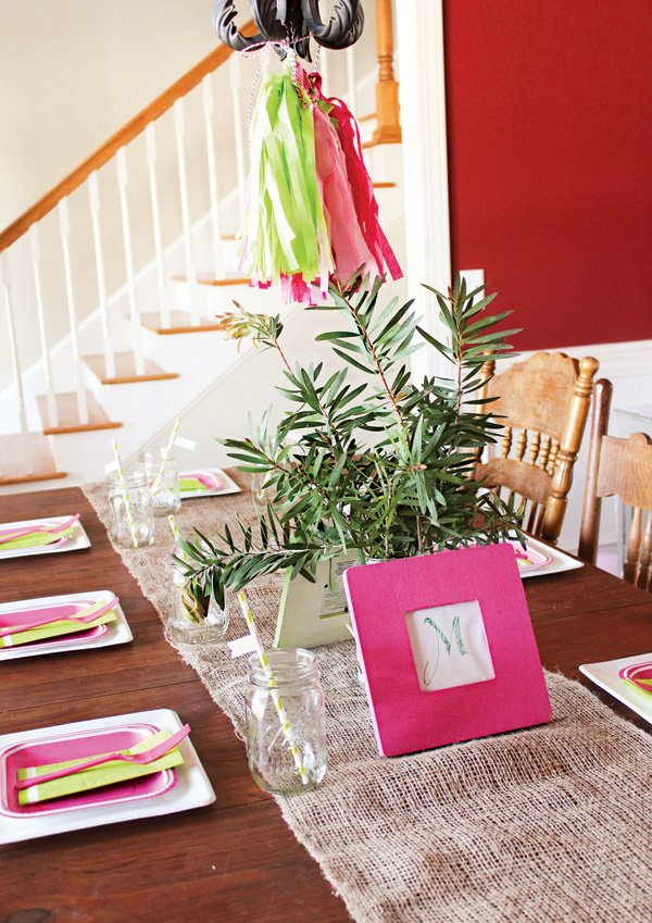 pink and green baby shower tablescape