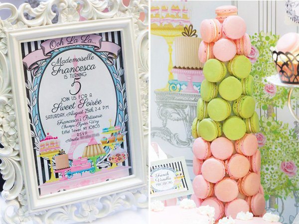 pink and green macaron tower and patisserie invitation
