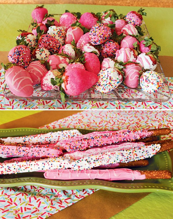 pink and white chocolate sprinkled shower desserts