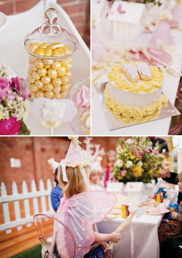 pink and yellow butterfly birthday party sweets