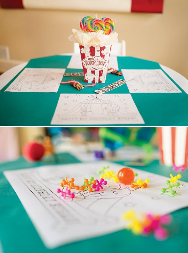 popcorn box and lollipop table centerpieces