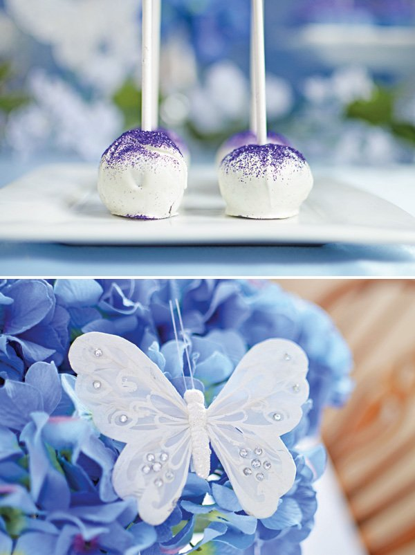 purple dusted cake pops and butterfly pin in the flowers