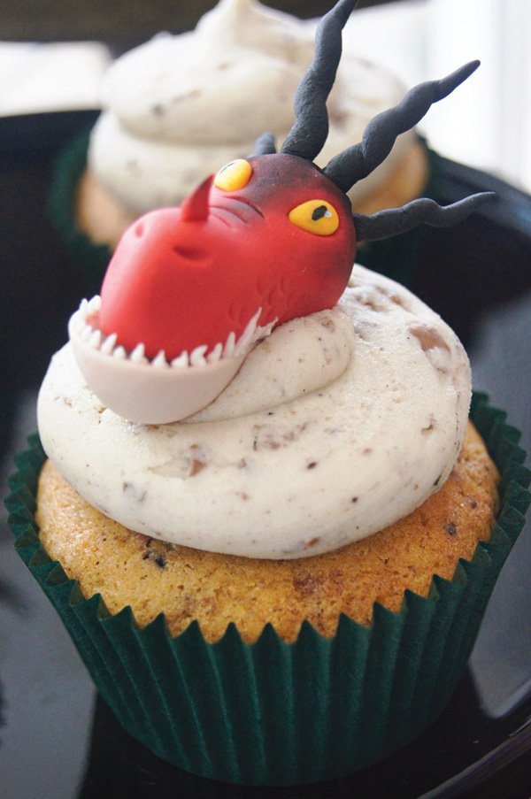 red dragon topped cupcake