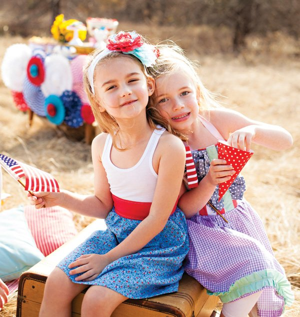 red, white and blue kids photo shoot