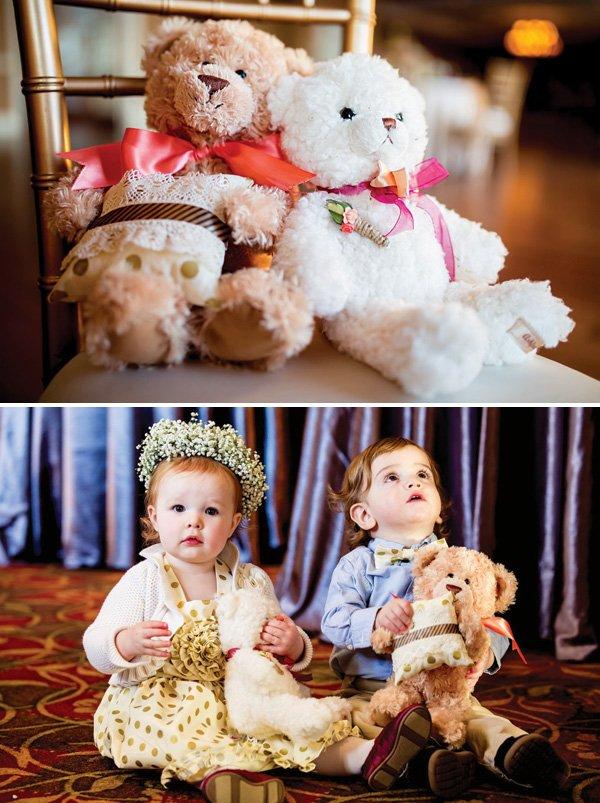 ring bearer and flower girl teddy bear photo shoot