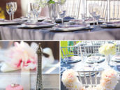 romantic bridal shower tablescape and bride's chair floral wreath