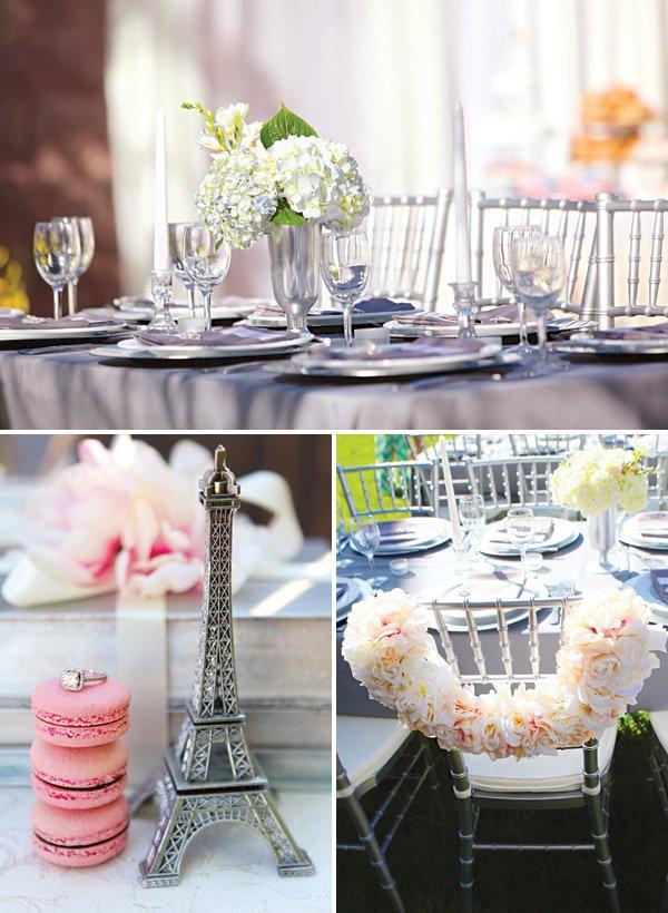romantic bridal shower tablescape and bride's chair floral wreath