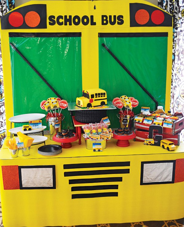 school bus birthday party dessert table