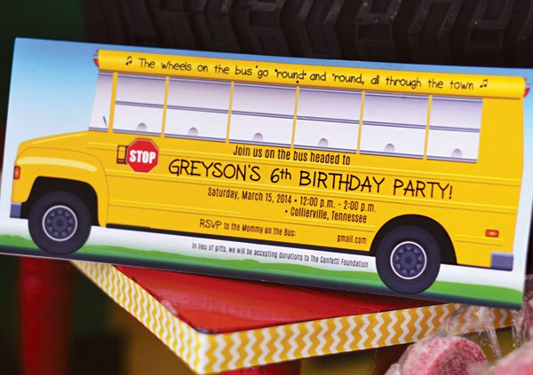 school bus birthday party invitation