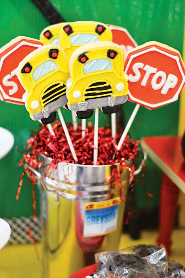 school bus and stop sign cookie pops