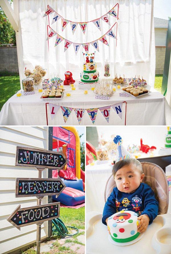 sesame street first birthday party dessert table