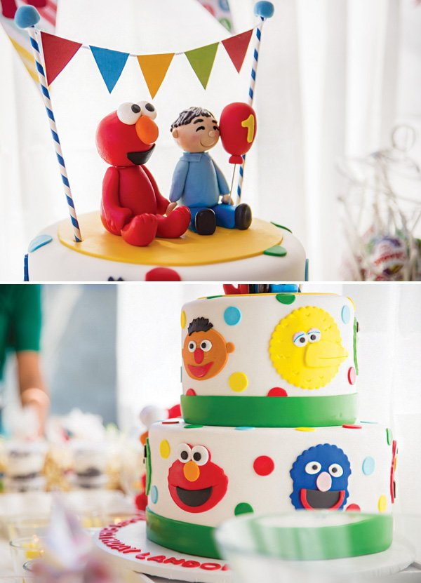 sesame street first birthday cake