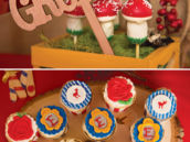 seven dwarfs laser cut wooden name signs and snow white cupcakes
