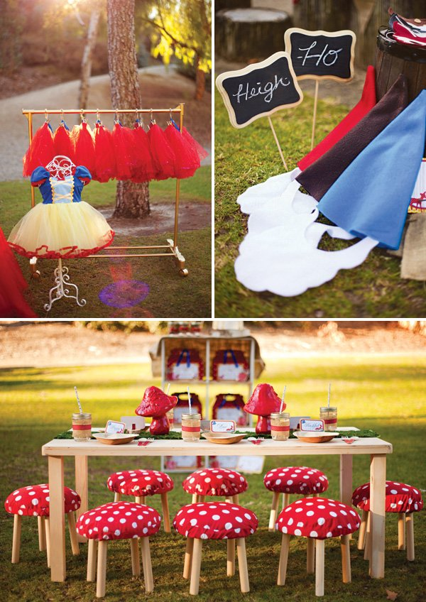 Snow White And The Seven Dwarfs In Woodland Birthday Party