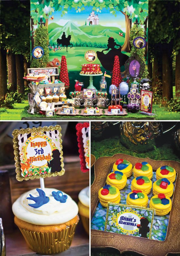 snow white birthday party dessert table
