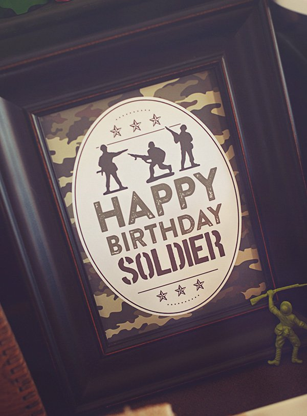 soldier birthday party sign