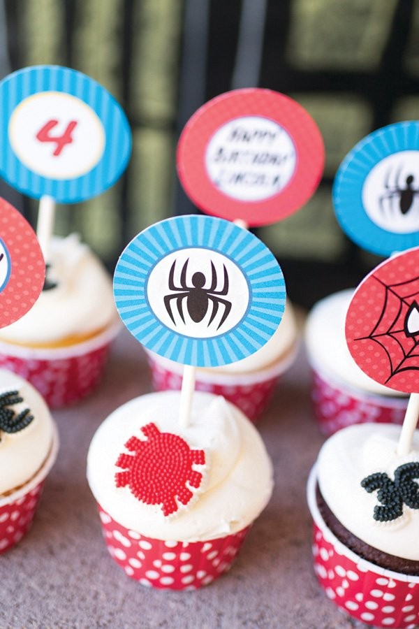 candy spider topped cupcakes