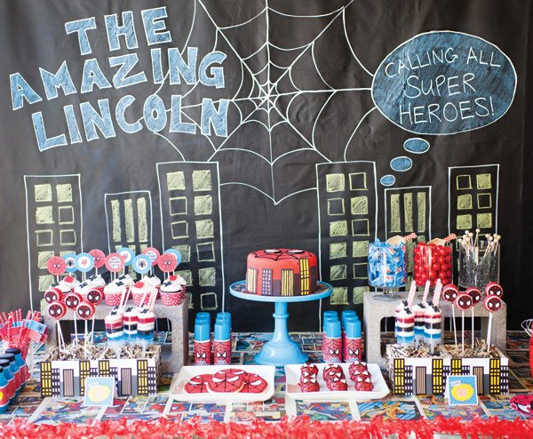 spiderman comic book birthday party dessert table