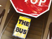 stop the bus entryway birthday sign