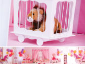 stuffed lion in a cage for a circus party