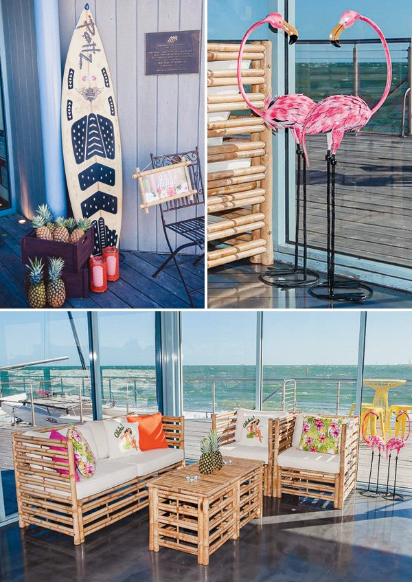 surfing inspired tropical birthday party decor