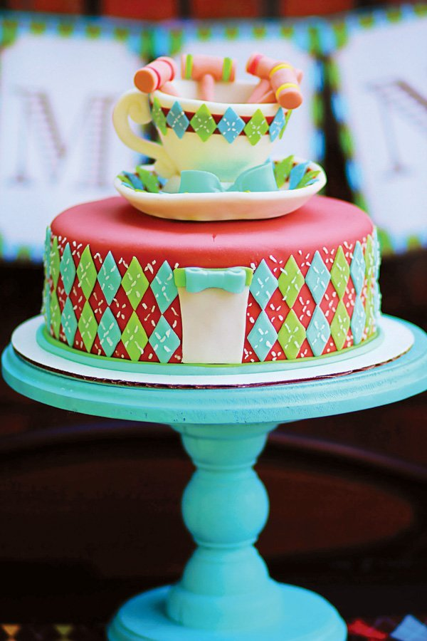 tea party and croquet cake