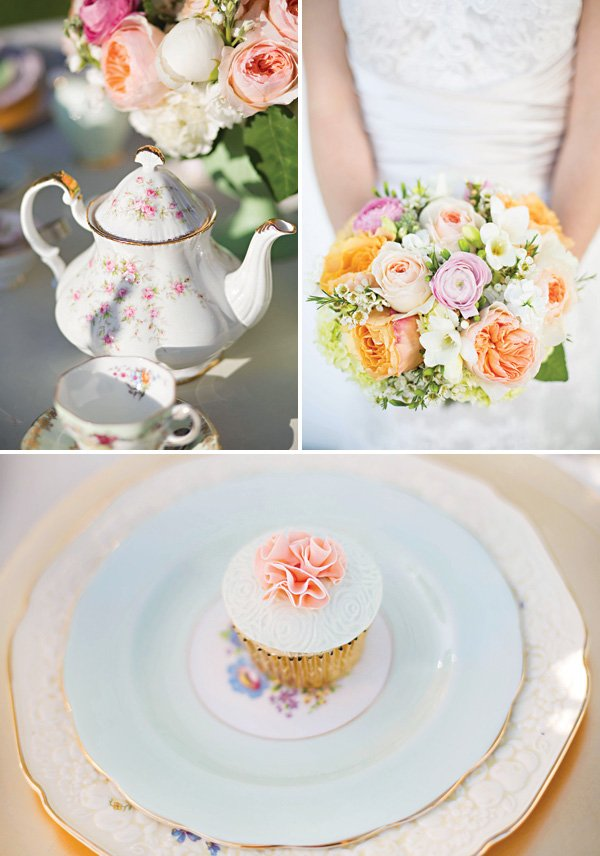 tea party wedding decor and desserts