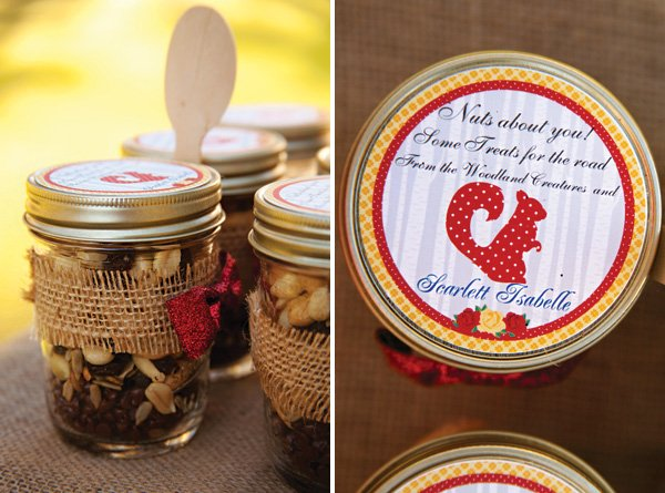 "trail mix ""nuts about you"" mason jar party favors"