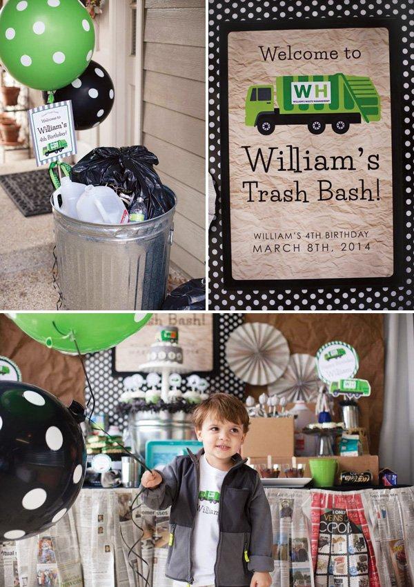 trash bash birthday party signs
