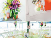 hawaiian tropical luau tablescape and flower arrangements