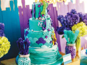 blue and purple under the sea mermaid birthday cake