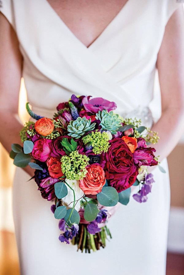 vibrant glam wedding bouquet