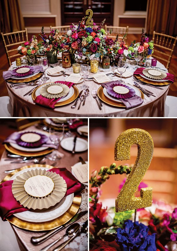 vintage glam wedding tablescape with gold glittered table numbers