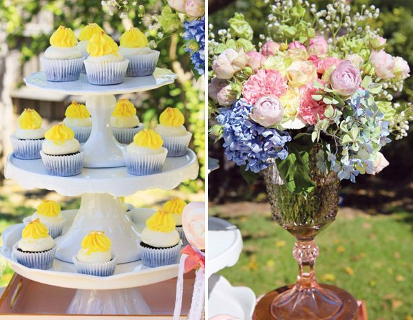 vintage rose glass floral vase and mini cupcakes