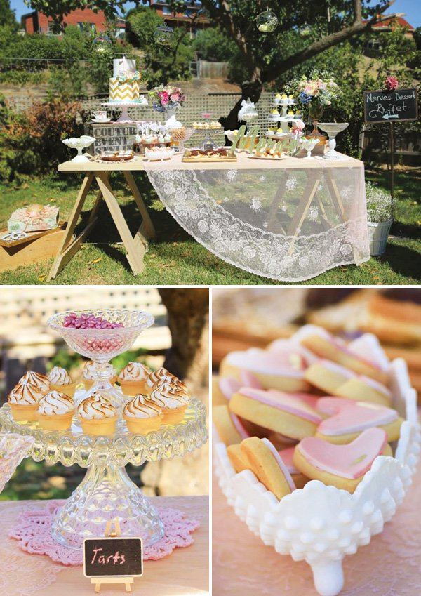 vintage lace dessert table