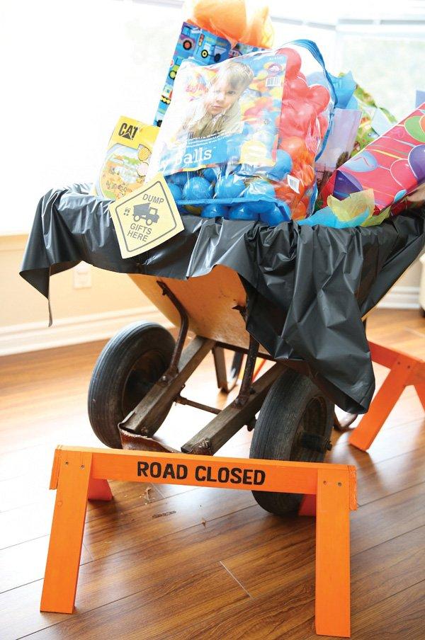 wheelbarrow birthday present container