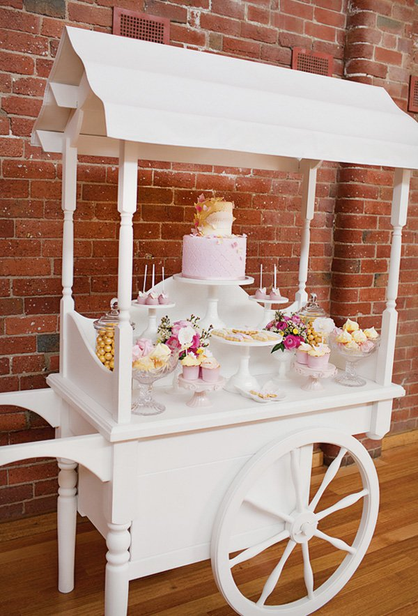 large white dessert table wagon