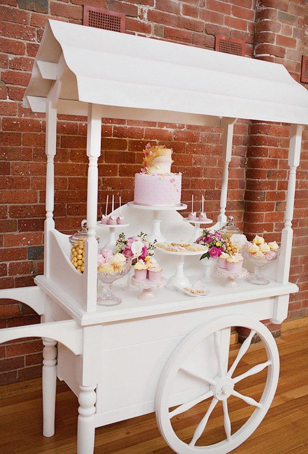 large white dessert table wagon