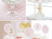 white, pink and gold birthday party dessert ideas