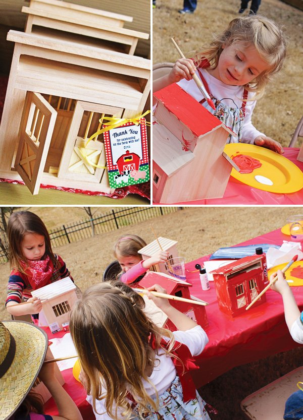 wooden barn painting activity