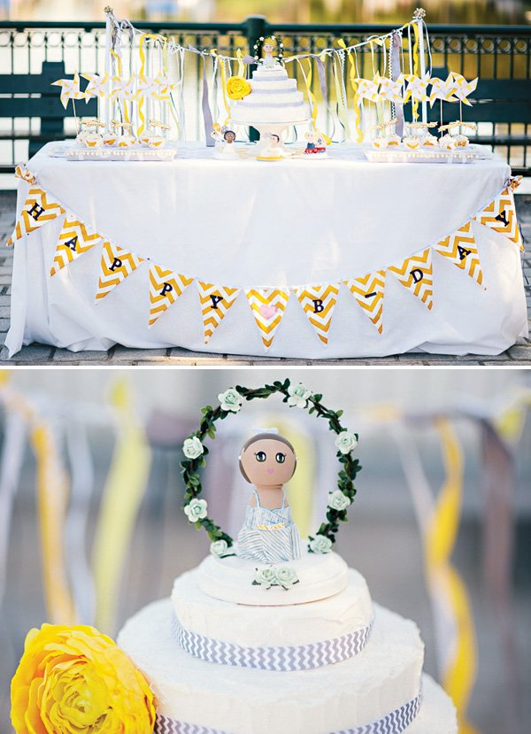 painted wooden doll cake topper
