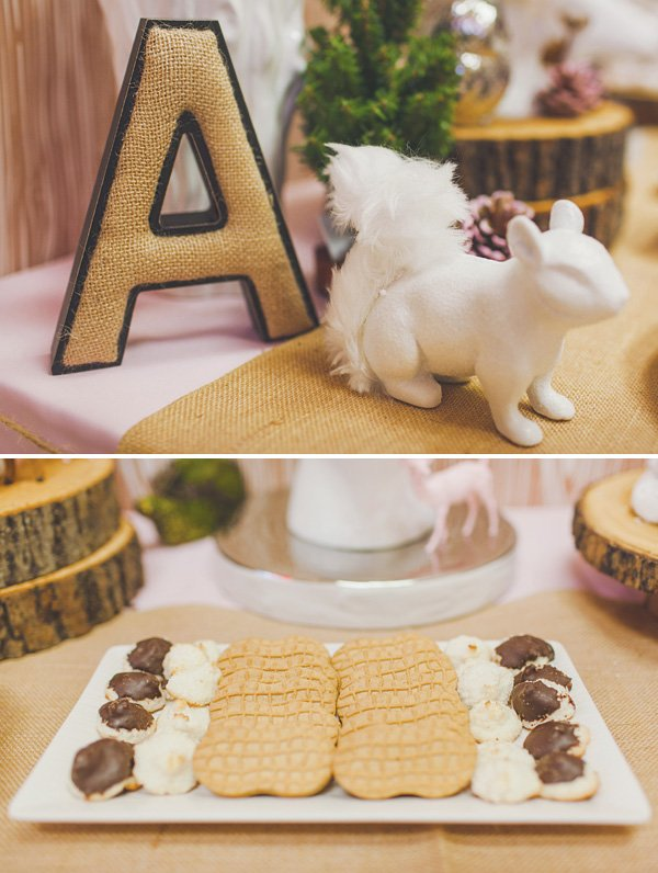woodland animal birthday party table decor and figurines