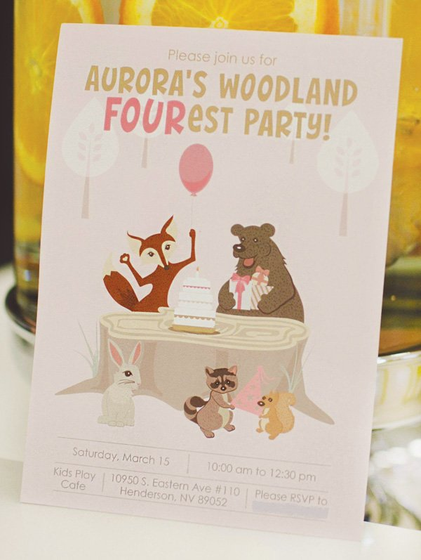 woodland animal birthday party invitation