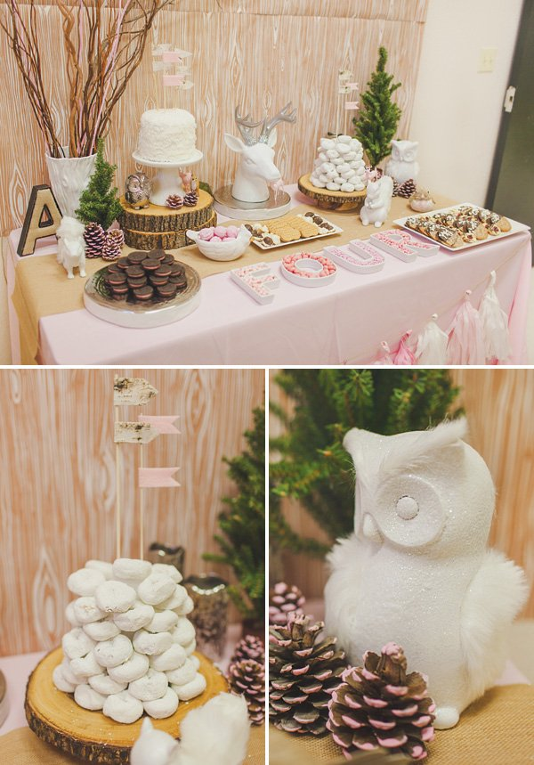woodland fourest 4th birthday party ideas and dessert table